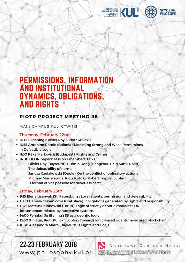 Dozwolenia, informacja, dynamika instytucji, nakazy i prawa. PIOTR Project Meeting #5