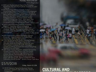 Cultural and environmental factors in socio-cognitive development
