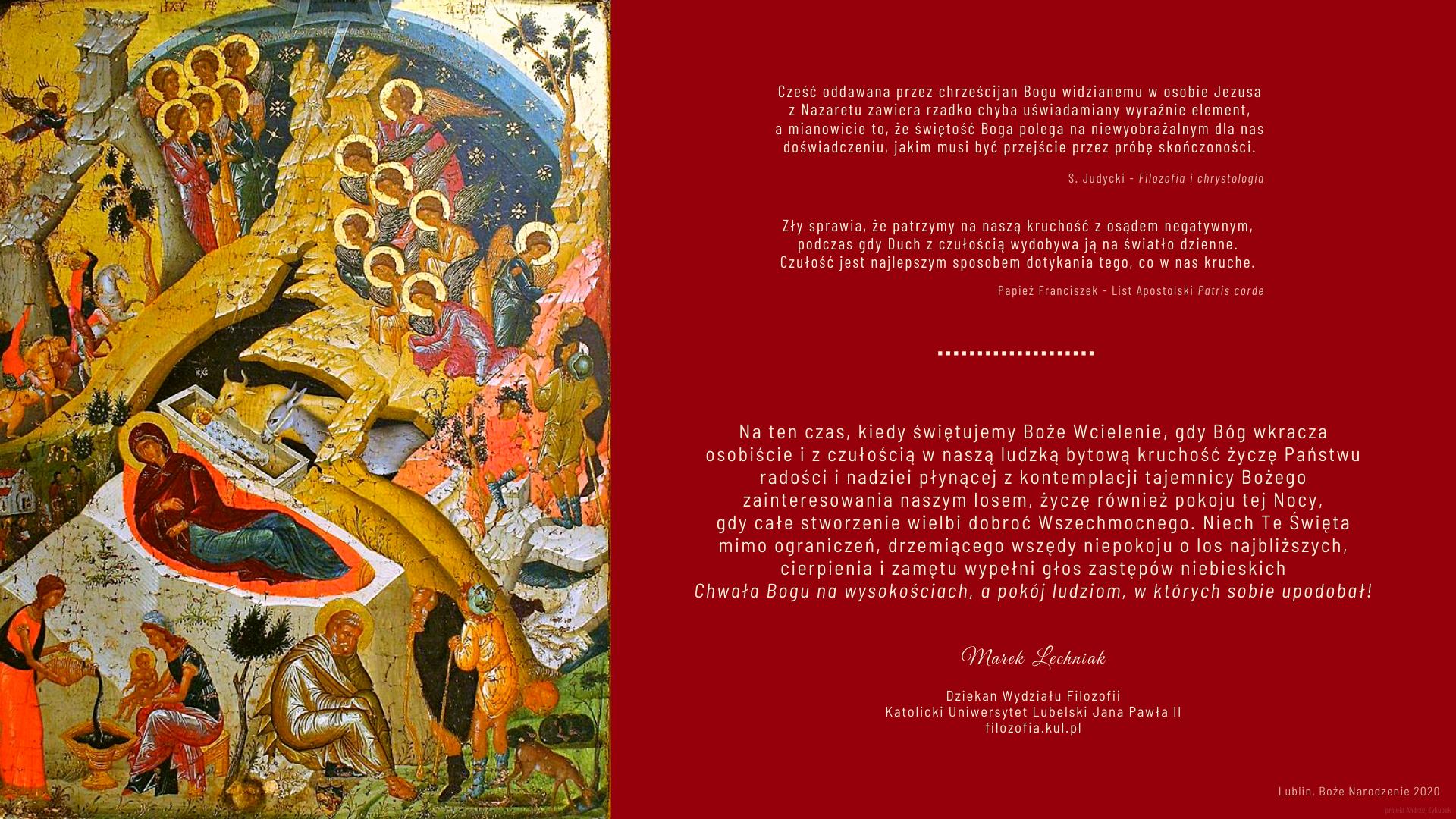 Na ten czas, kiedy świętujemy Boże Wcielenie - życzenia Dziekana Wydziału Filozofii